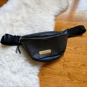 Marc New York Gold Stud Black Leather Fanny Pack